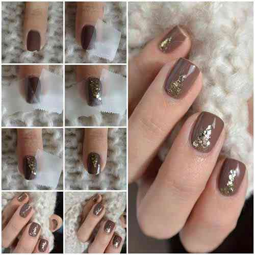 Cocoa Gold Glitter Nails coffin