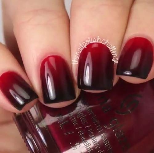 dark red and black ombre nails
