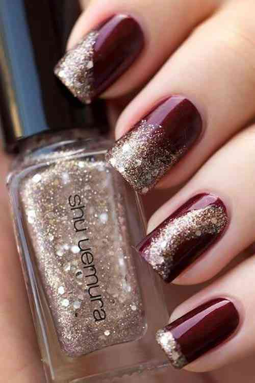 Party glitter nails design coffin