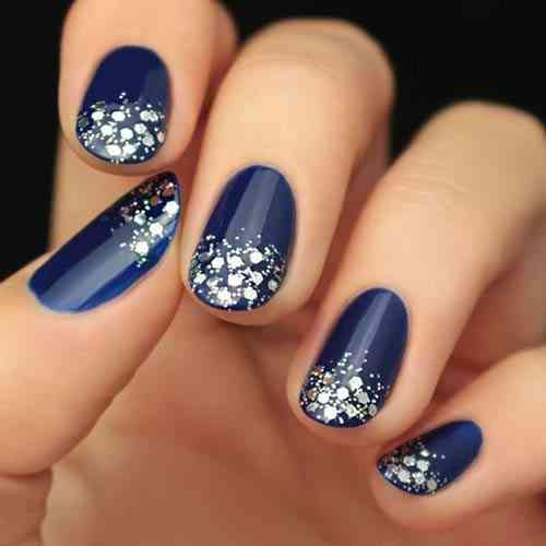 Royal Blue Jewel-Toned Glitter Nails