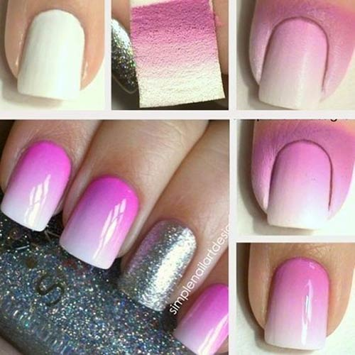 silver and pink ombre nails