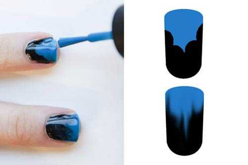 blue and blackombre nail