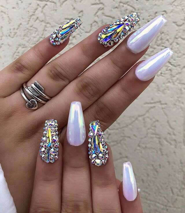 coffin nails ideas Like Diamonds Rhinestones and Shimmer-vvpretty