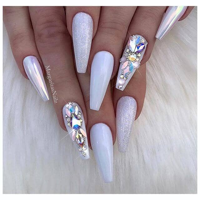 coffin nails-Ultra Long Matte White, Glitter, Rhinestones-vvpretty