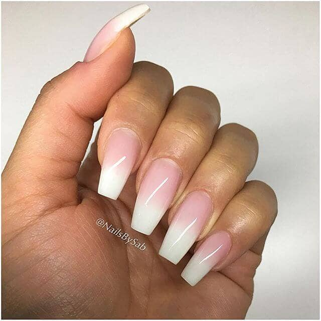 French Manicure Inspired Ombre Natural Nail