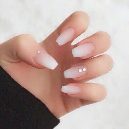 Ombre Nude Coffin Nails with Diamond Accents
