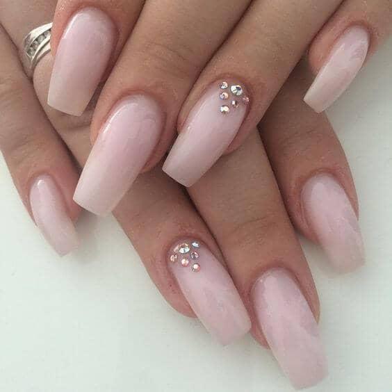 Pastel Ballerina Inspired Rhinestone Nails