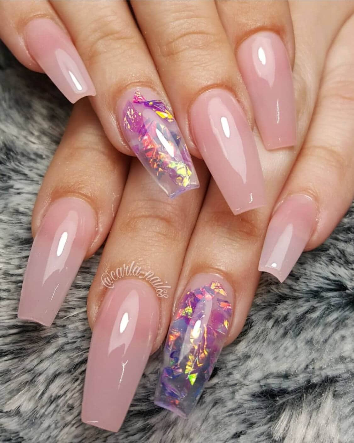 Decoupage Shimmer and Natural Pink Nail Art