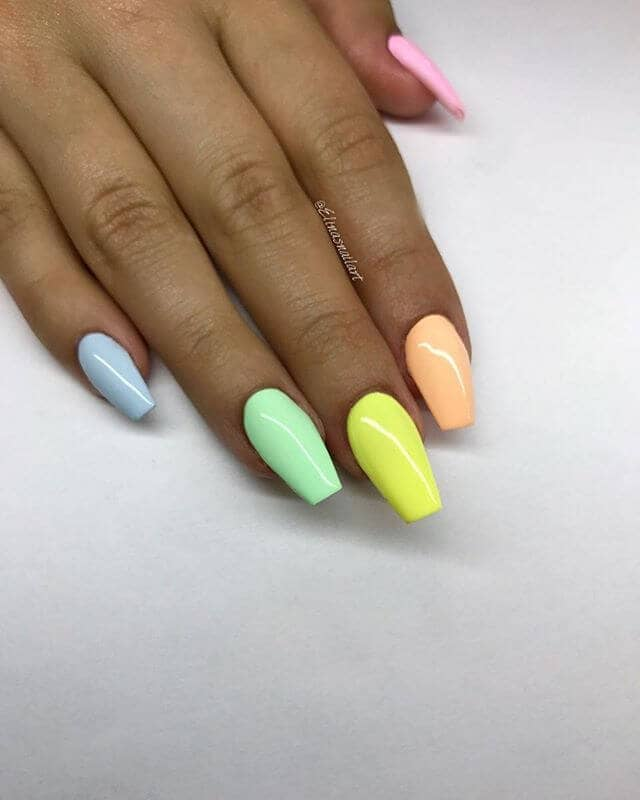 Sherbet Rainbow Short Coffin Nail