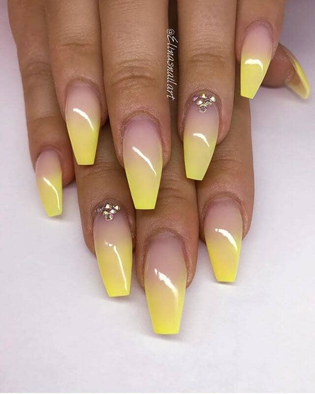 Coffin Nails-Yellow Ombre Nails With Diamond Details -vvprettyl