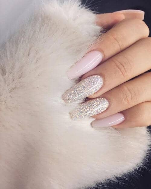 coffin nails Snow Queen Light Pink Shimmery Glitter