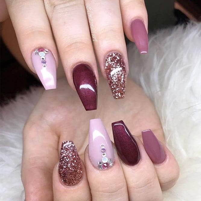 coffin nials Elegant Luxe Pink Glitter And Diamonds