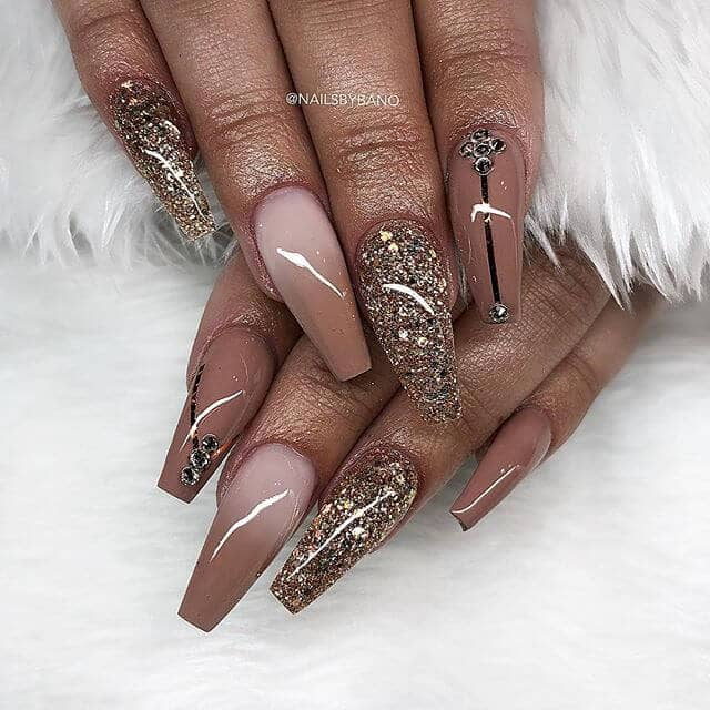 High Gloss Gold and Tailored Rhinestone Nail Artl coffin nails-vvpretty
