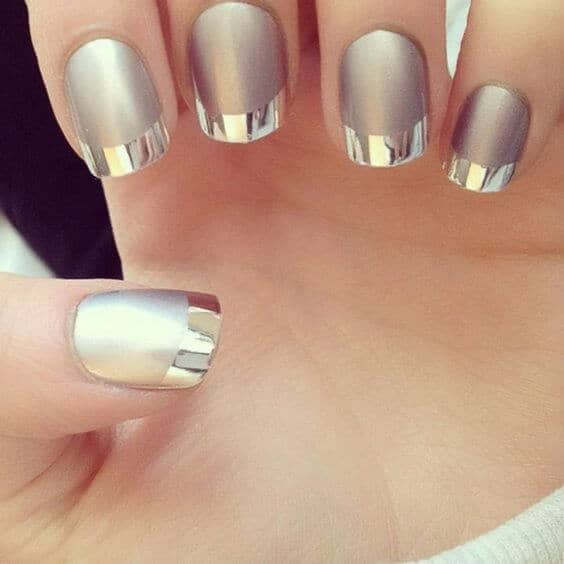 Gold French Tip Nail Design-vvpretty