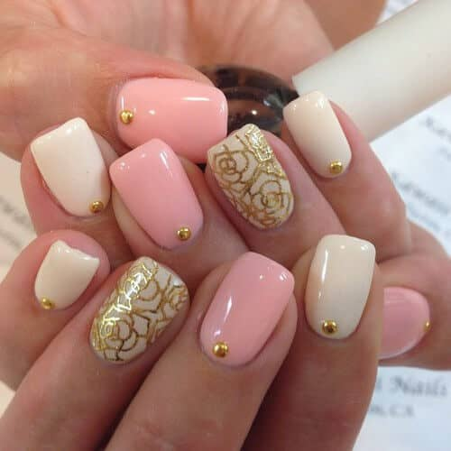 Metallic Roses gel-nail-designs-vvpretty