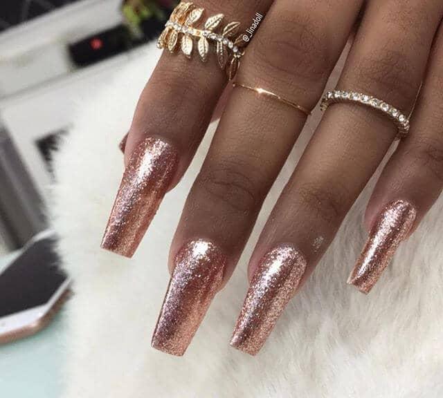 Rose Gold Tips Gel Nails Designs