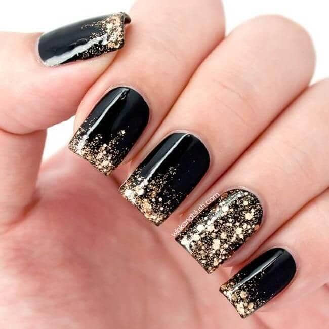 Unique Onyx with Gold Glitter Nails-vvpretty