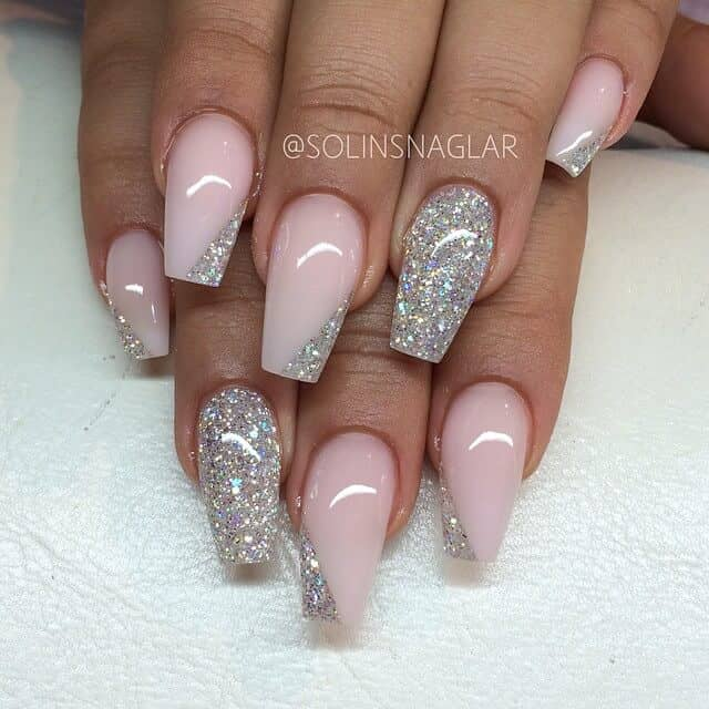 Dazzling Pink and Glitter Nails-vvpretty