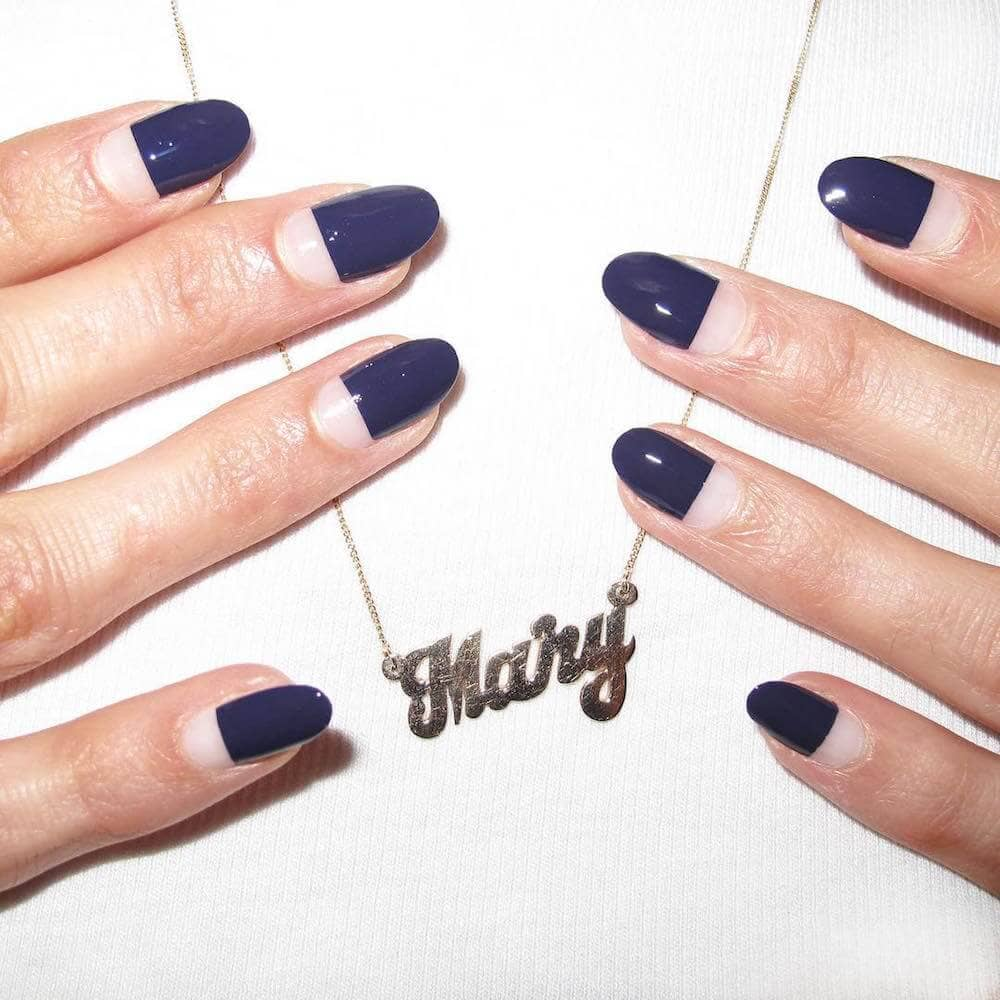 Blue Half Moon Gel Nail Art-vvpretty