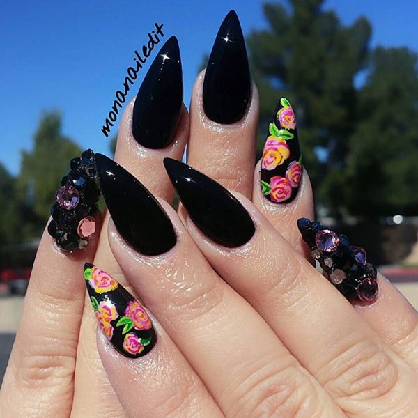 Flowery black Stiletto Nail Designs vvpretty