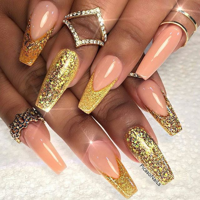 Peach Nails with Gold Glitter Tips vvprett