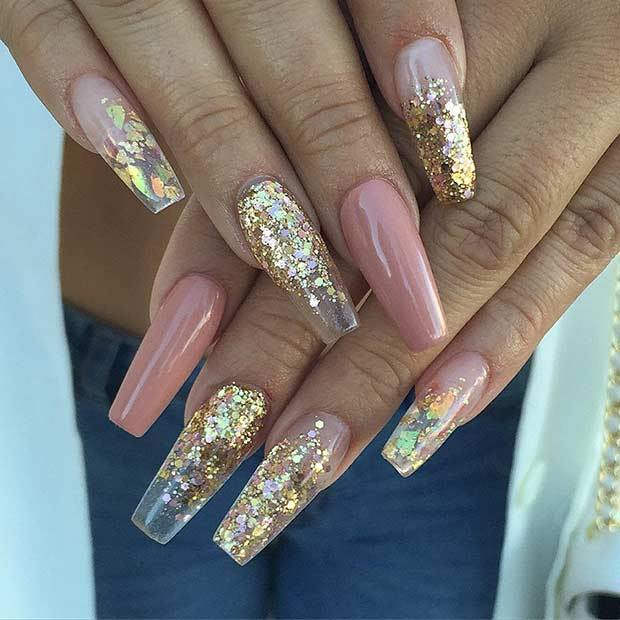 Gold Flips and Pink Ballerina Nails shape