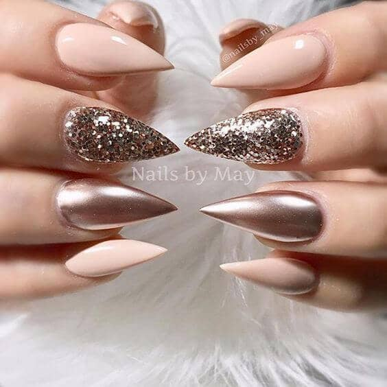 Sparkles with Gold and Creme Pointed Nails-vvpretty
