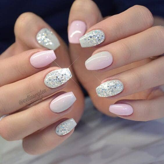 Romantic French Tips with Rhinestones on vvpretty