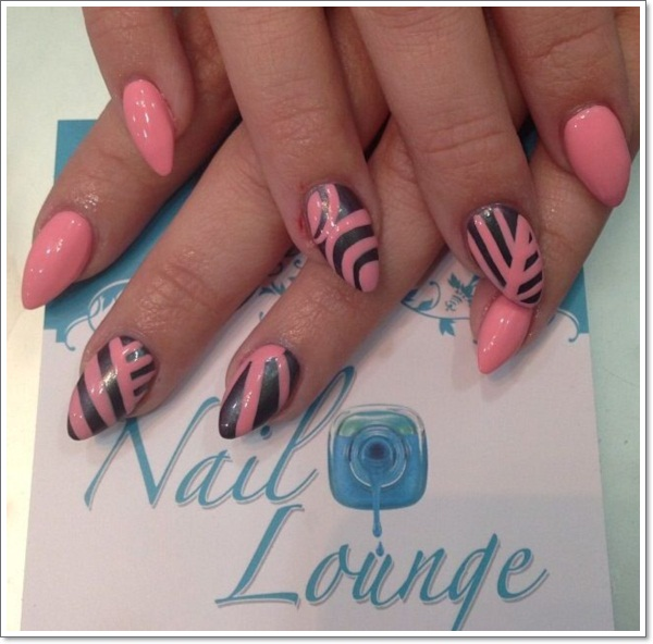 Black pinky lines Stiletto Nail Designs vvpretty