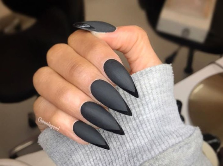 Black on Black Stiletto Nail Designs vvpretty