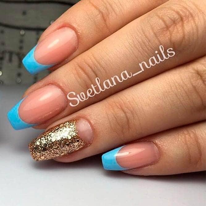 Aqua and Gold Gel Nail Art vvpretty