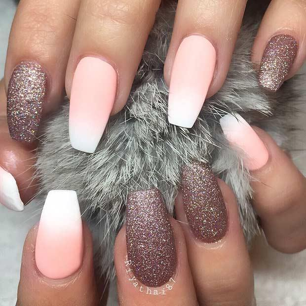 Ombre Matte with Light Pink and Gold Ballerina Nails