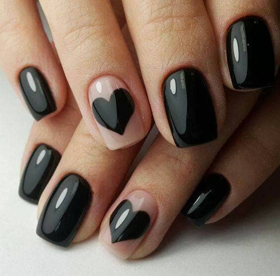 Black Hearts Designers Nail Designs-vvpretty