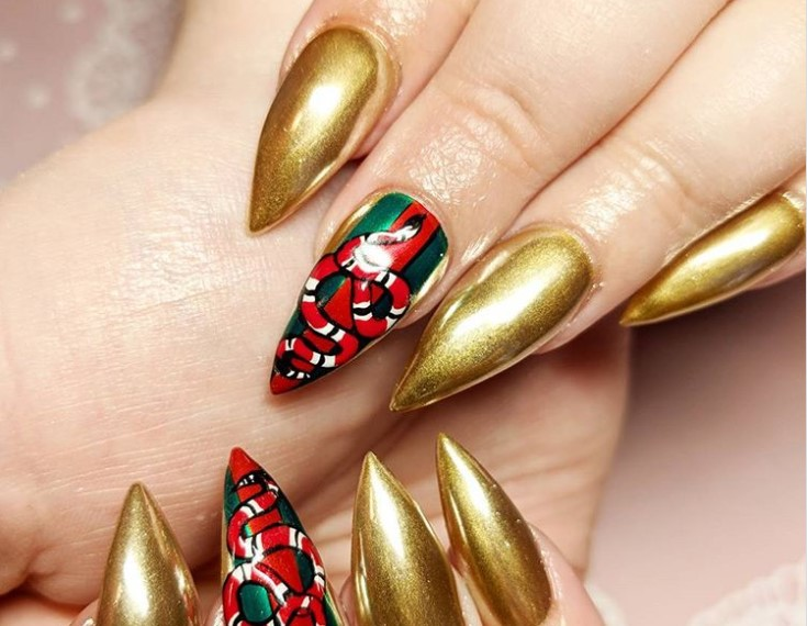 Gucci Gang Stiletto Nail Designs vvpretty