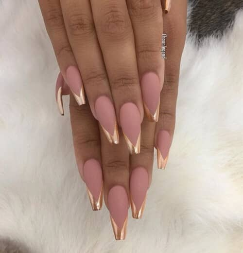 Gold French top with Pink Acrylic Nail-acrylic-design-idea-vvpretty