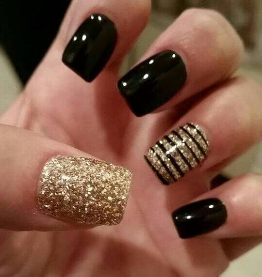 Chocolate and Gold Shinning acrylic-nails