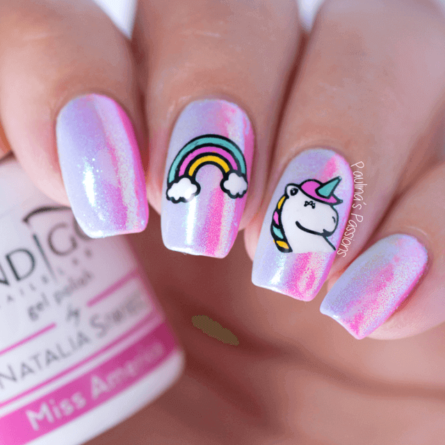 Unicorn and Rainbow Stylish Nail Design-acrylic-nail-vvpretty