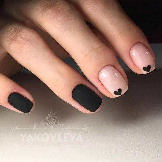 Black with Black Hearts acrylic-nail-art-vvpretty