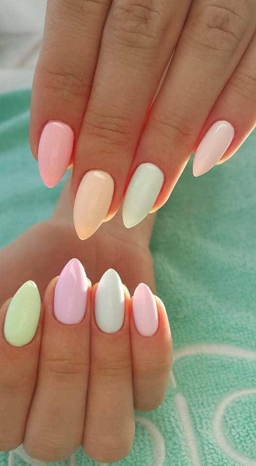 Pastel Nail Designs in Sherbet Color