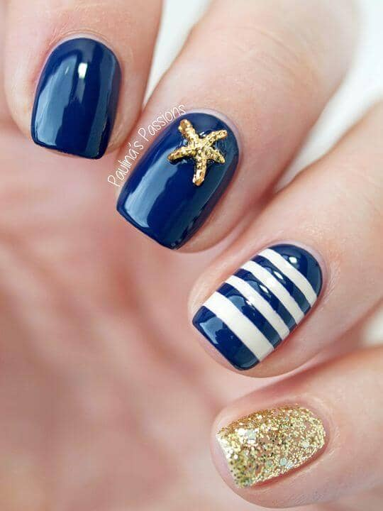 Maritime Nails with a Starfish and Mermaid on Top