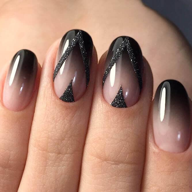 Glitter Black Nail Design-acrylic-nail-color-vvpretty