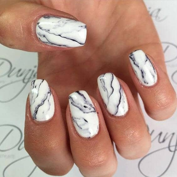 White Marble Nail Art-vvpretty