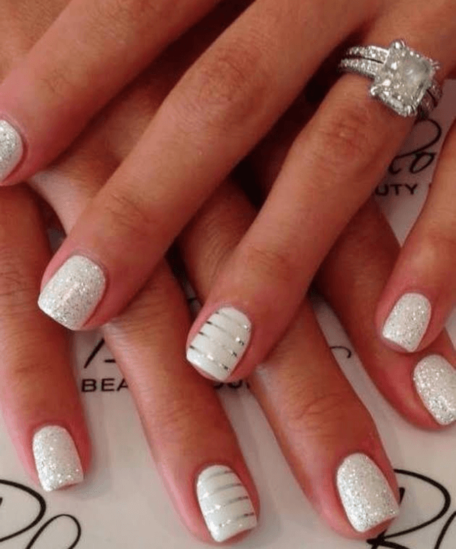 Glitter and Sparkle Make White Nails Speak