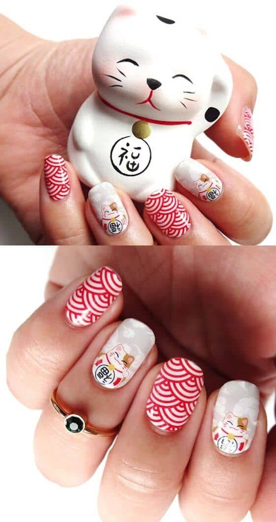 Red Acrylic Nails with Asian Kittys-vvpretty