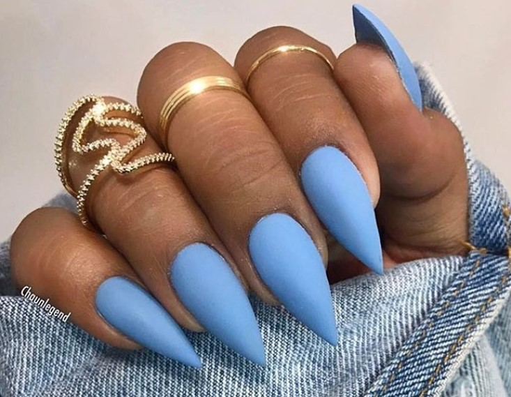 BabyGirl Blue Stiletto Nail Designs vvpretty