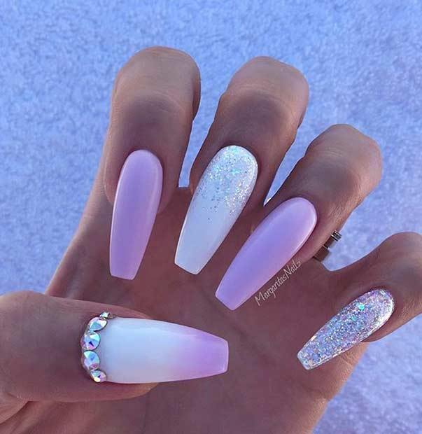 Light Pink and White with Shine Ballerina Nails Shapes