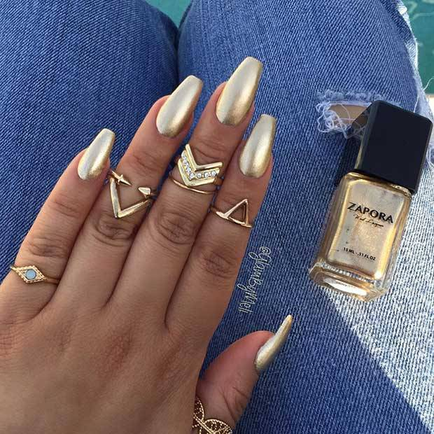 Ballerina Gold- Ballerina short Nails