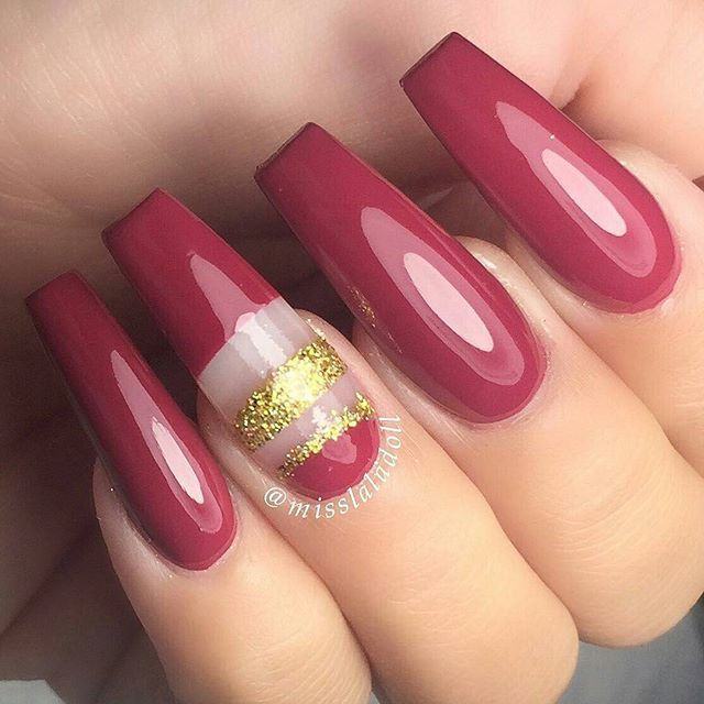 Red Rose, Gold Strip Ballerina ombre Nails vvpretty