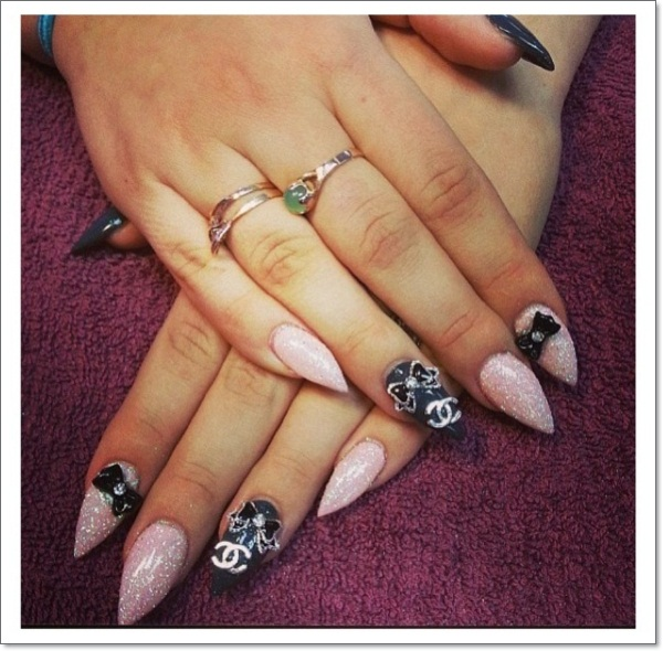 Dazzling Chanel-Stiletto Nail Designs vvpretty