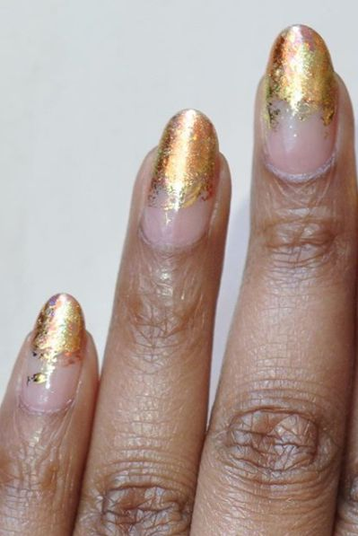 Almond Nail Design with Copper Foil-vvpretty